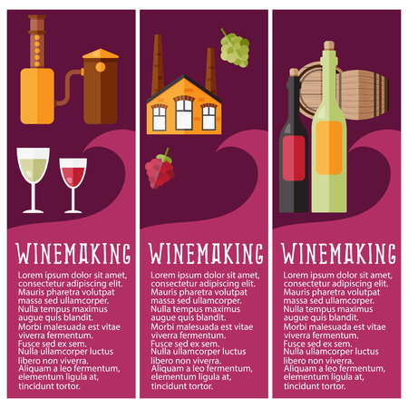 Set of banner for winemaking industry with winemaking objects. Vector illustration