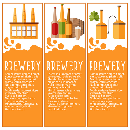 storage data product: Set of banner for brewery industry with brewery objects. Vector illustration