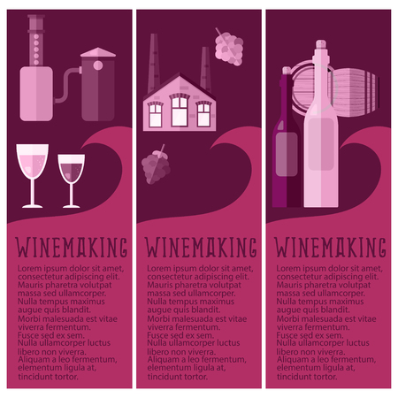 winemaking: Set of banner for winemaking industry with winemaking objects. Vector illustration