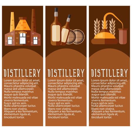 distillery: Set of banner for distillery industry with distillery objects. Vector illustration