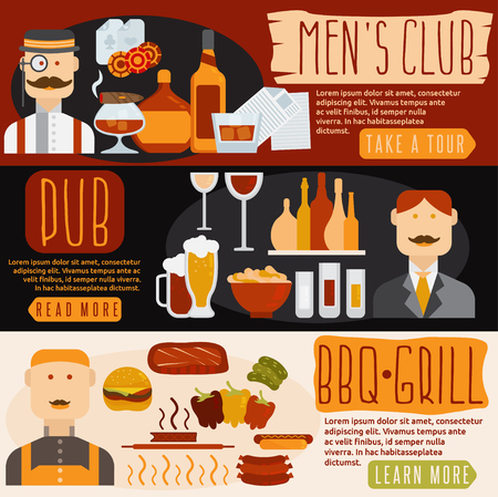 havana cigar: flat design banners with mens club,bbq and pub theme
