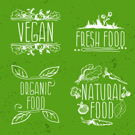 frendly: Set of hand drawn eco frendly labels.Vector illustration