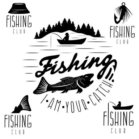set di etichette d'epoca con tema di pesca