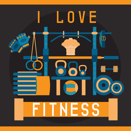 weightlifting gloves: flat design vector illustration with fitness stand