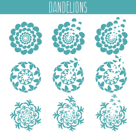 Set of abstract cute dandelions. Vector illustration template 向量圖像
