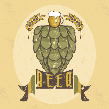 dark lager: grunge illustration of glass with beer,hops and wheat
