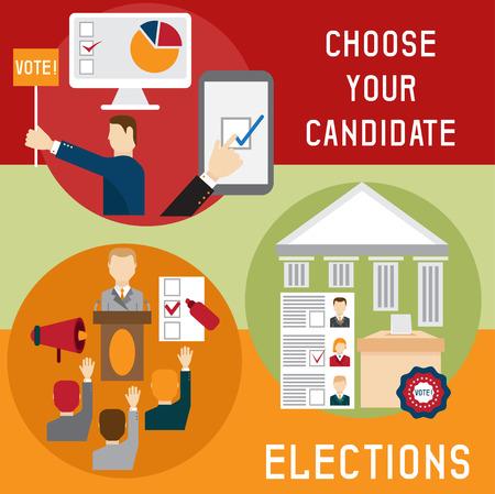 election debate: Election voting and debate mini banners set flat design vector illustration