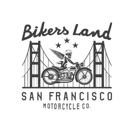 golden gate bridge: skeleton in helmet on bike and golden gate bridge vector design template