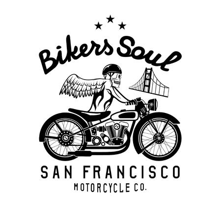 spurt: skeleton in helmet on bike and golden gate bridge vector design template