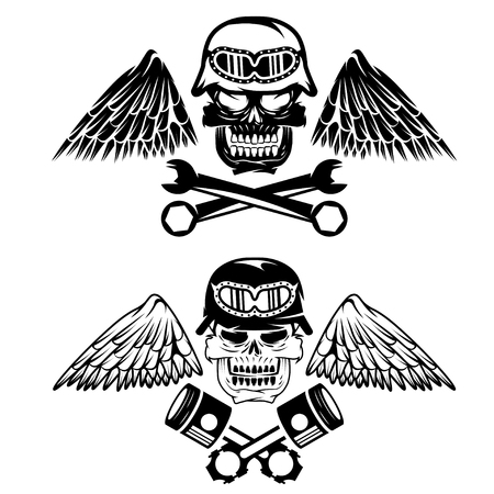 spurt: biker theme label with pistons ,wrenches and skulls