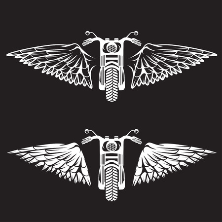 spurt: biker theme labels set  with bike and wings
