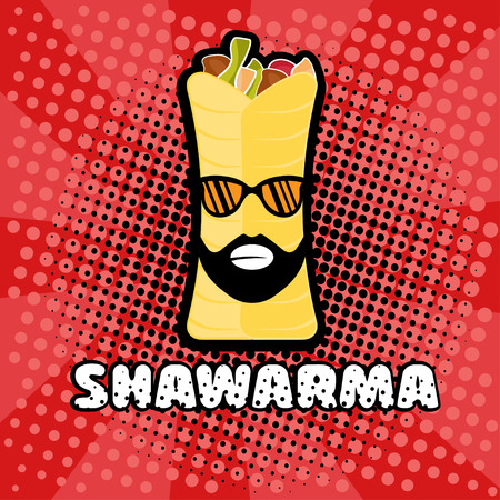 kabob: hipster shawarma with sunglasses in pop art style Illustration