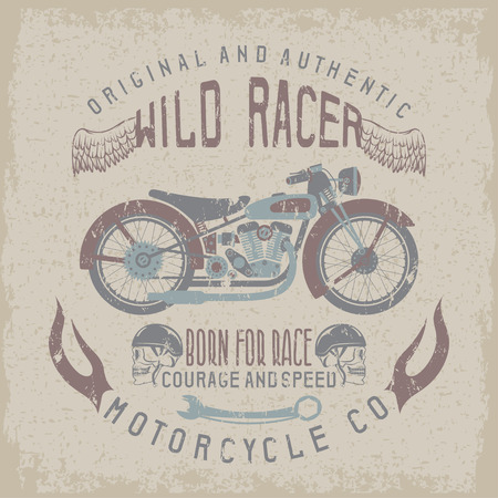spurt: wild racer vintage print with motorcycle,wings and skulls