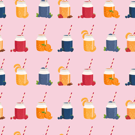 non alcoholic: Seamless pattern of smoothie in mason jar. Vector illustration