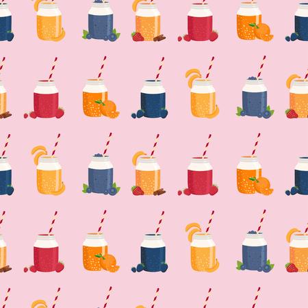 iron fun: Seamless pattern of smoothie in mason jar. Vector illustration