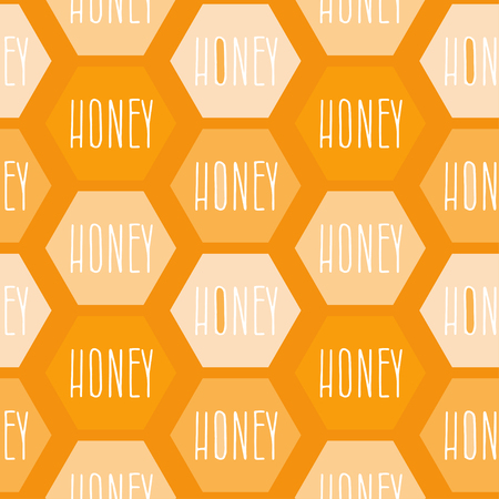 stick bug: Seamless pattern of abstract shapes with text honeycomb honey. Vector illustration