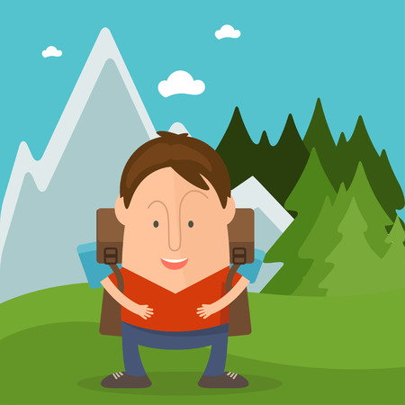man standing alone: Funny man tourist in cartoon style in forest with mountains. Vector illustration