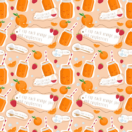 iron fun: Seamless pattern of smoothie of oranges,raspberries and yogurt. Vector illustration Illustration