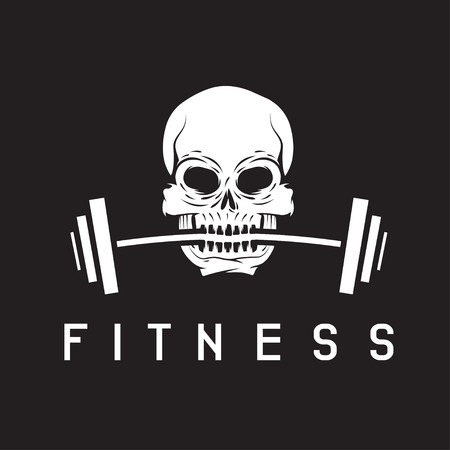crossbar: skull holding barbell in the teeth fitness concept