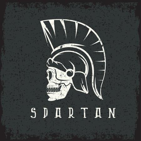 antiques: Old Vintage Antiques Skull Spartan warrior grunge design template Illustration