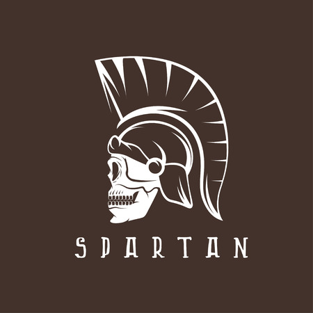 antiques: Old Vintage Antiques Skull Spartan warrior design template Illustration