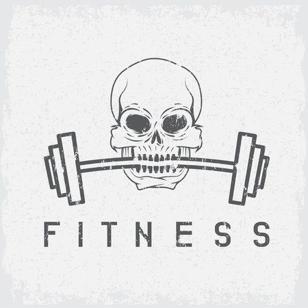 elite sport: skull holding barbell in the teeth grunge fitness concept