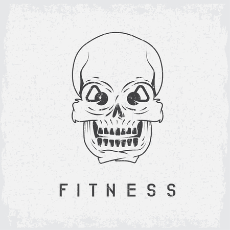 crossbar: skull with kettlebells in eyes grunge fitness concept
