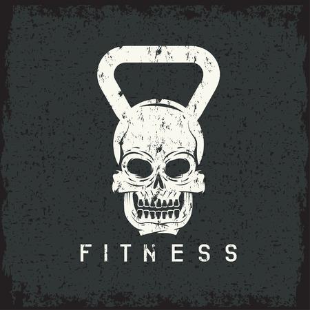elite sport: grunge skull in the form of kettlebell fitness concept
