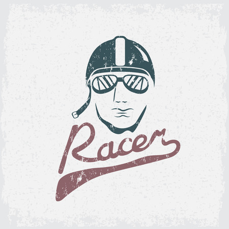 racer flag: head of racer vintage grunge vector design template