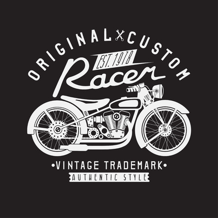 racer: racer vintage vector print with motorcycle and wrenches