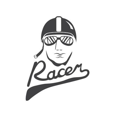 head of racer vintage vector design template Иллюстрация
