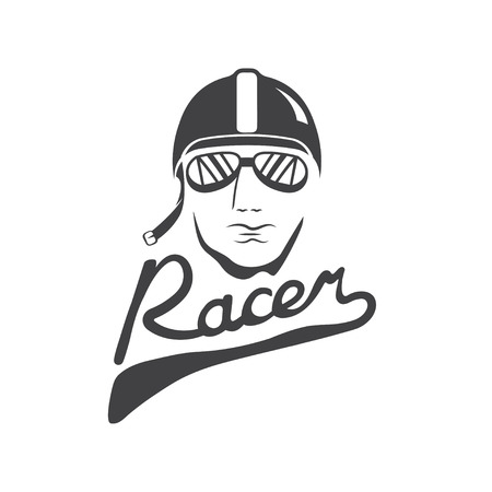 head of racer vintage vector design template Illustration