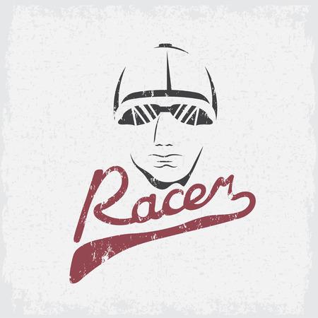racer: head of racer vintage grunge vector design template