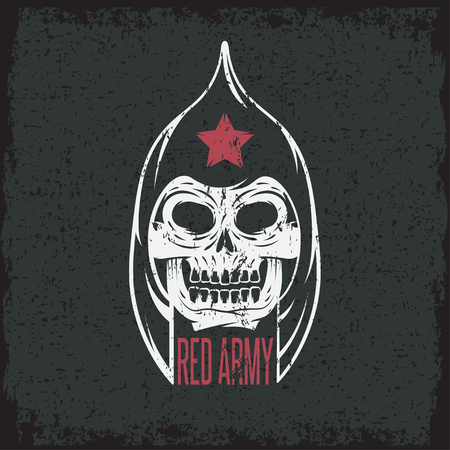 onslaught: red army soldier skull grunge vector design template Illustration