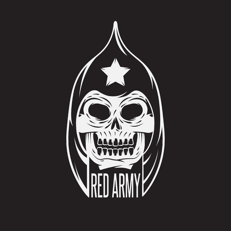 onslaught: red army soldier skull vector design template