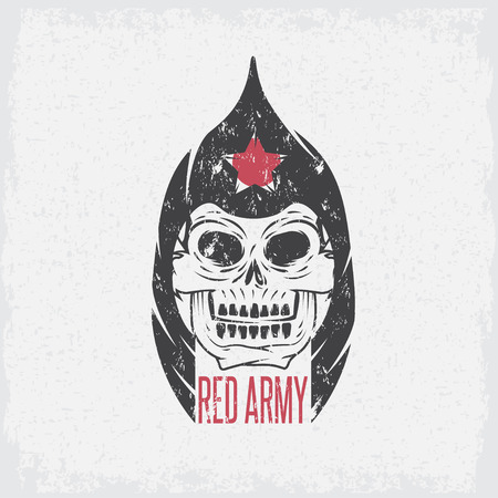 red army soldier skull grunge vector design template Vector Illustration