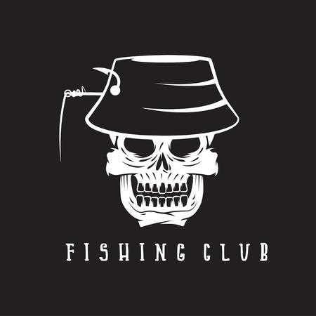 panama: fishing club emblem with skull in panama hat Illustration