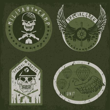 Special unit military grunge emblem set vector design template