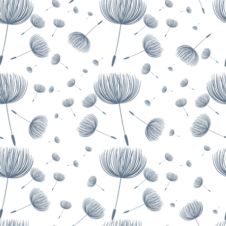 Abstract fluffy dandelion flower seamless pattern. Vector illustration Illustration