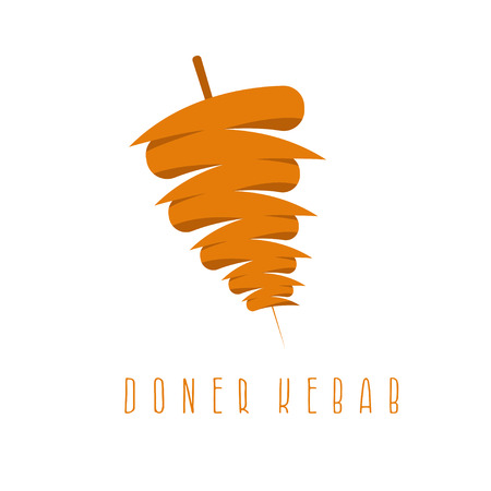 simple flat vector illustration of doner kebab Stock Illustratie