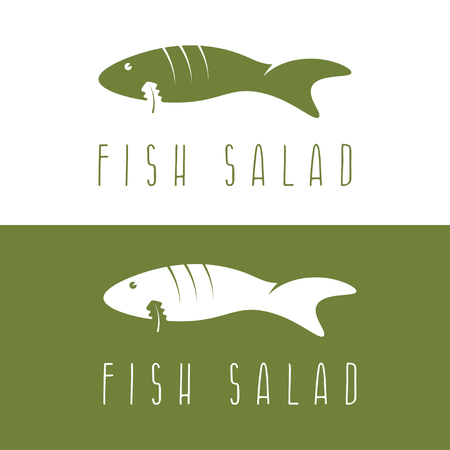 negative space: fish salad negative space vector design template