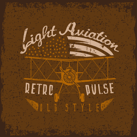 airscrew: retro aviation grunge vector design with airplane and wings
