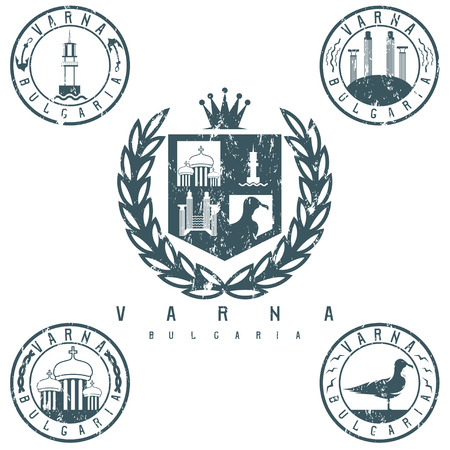 city coat of arms: grunge coat of arms and emblems with landmarks of the city Varna Bulgaria