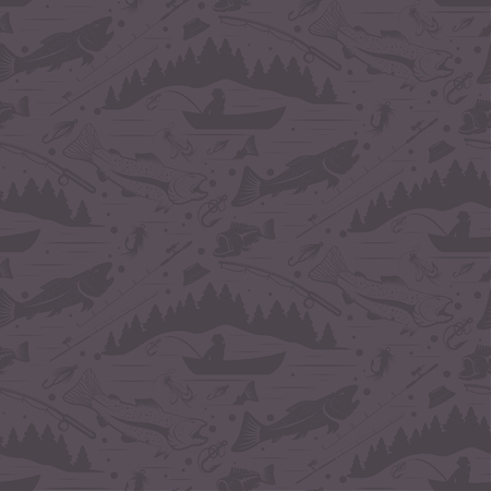 spawning: Seamless pattern for fishing theme. With fish,fishman,lure,rod and tree. Vector illustration Illustration