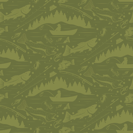 lure: Seamless pattern for fishing theme. With fish,fishman,lure,rod and tree. Vector illustration Illustration