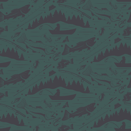 fishman: Seamless pattern for fishing theme. With fish,fishman,lure,rod and tree. Vector illustration Illustration