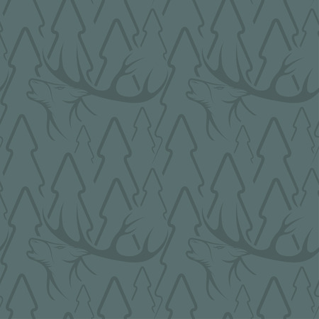 collet: Seamless pattern for hunting theme. With deer, duck, gun, bird and tree. Vector illustration Illustration