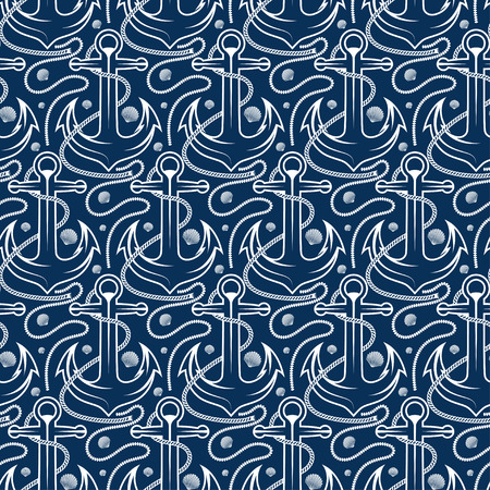 sports shell: Seamless pattern for marine theme. With anchor,rope and shell. Vector illustration Illustration