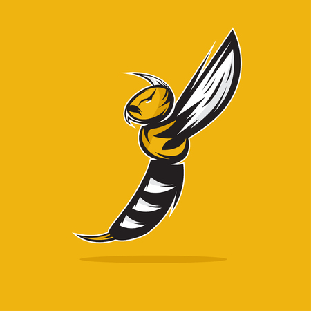 sports team: aggressive bee or wasp mascot vector design template