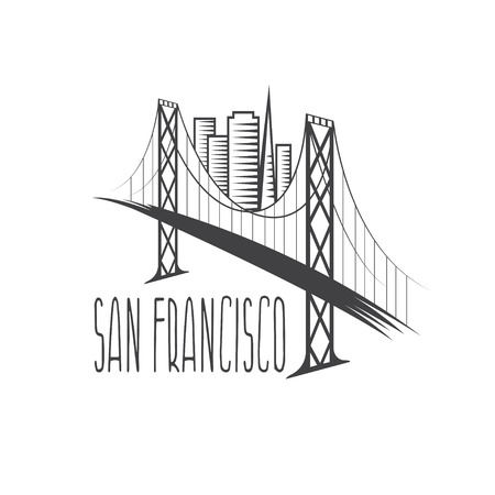 san francisco bay: San Francisco - Oakland Bay Bridge and buildings vector illustration